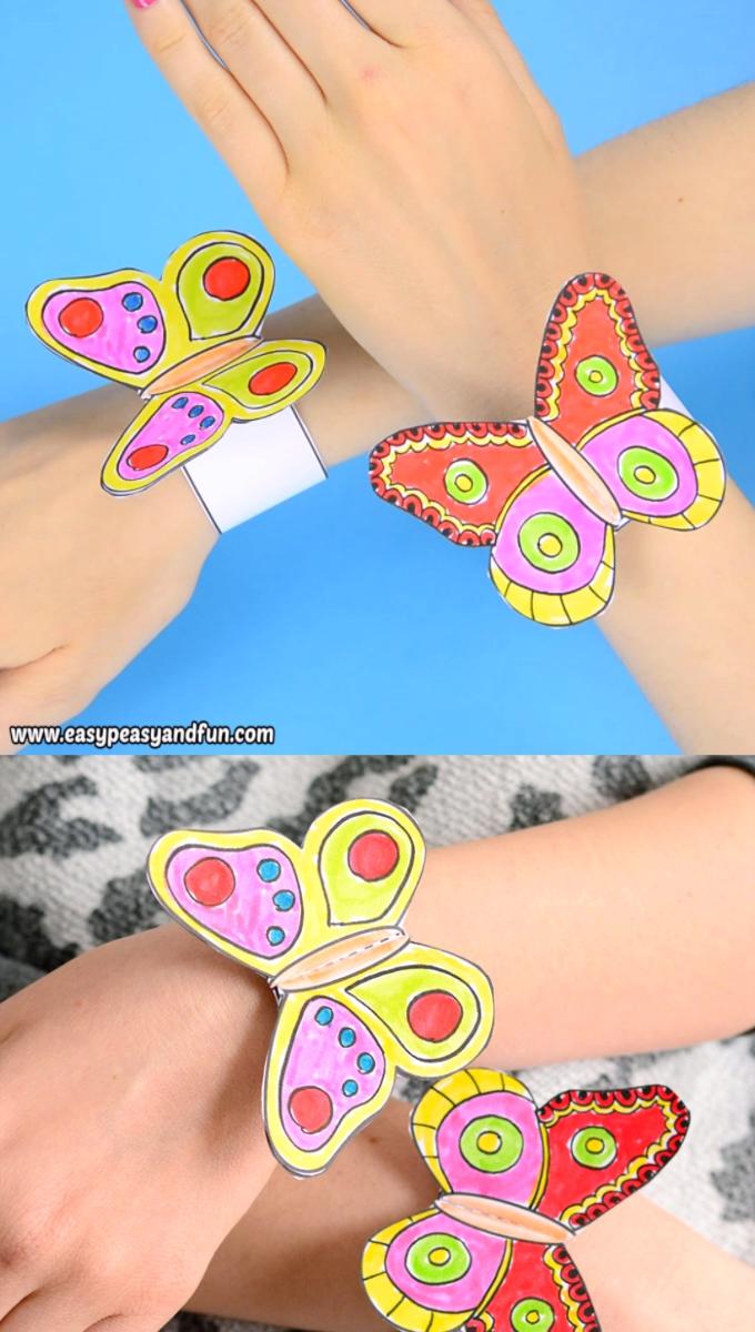 Butterfly Paper Bracelets for Kids #craftsforkids