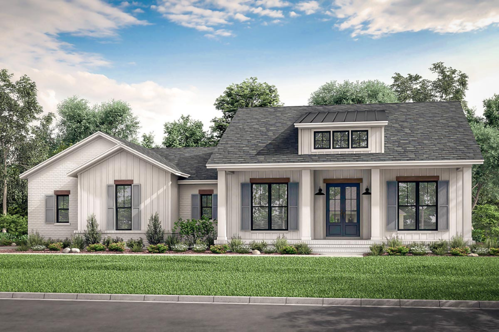 Plan 51817hz Country Craftsman House Plan With Split Bedrooms In 2020 Modern Farmhouse Plans Farmhouse Plans House Plans