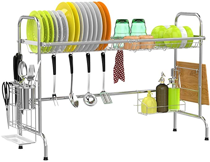 Cambond Over The Sink Dish Rack Large Dish Drying Rack Stainless Steel Dish Drainer Shelf With Utensils Holder For Dish Rack Drying Sink Dish Rack Dish Racks