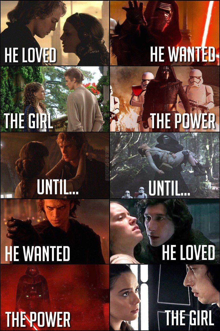 Reylo I Still Think Anakin Loved Padme He Was Just So Blinded And Confused With Despair He Lost Sight That He Ren Star Wars Star Wars Quotes Star Wars Jokes