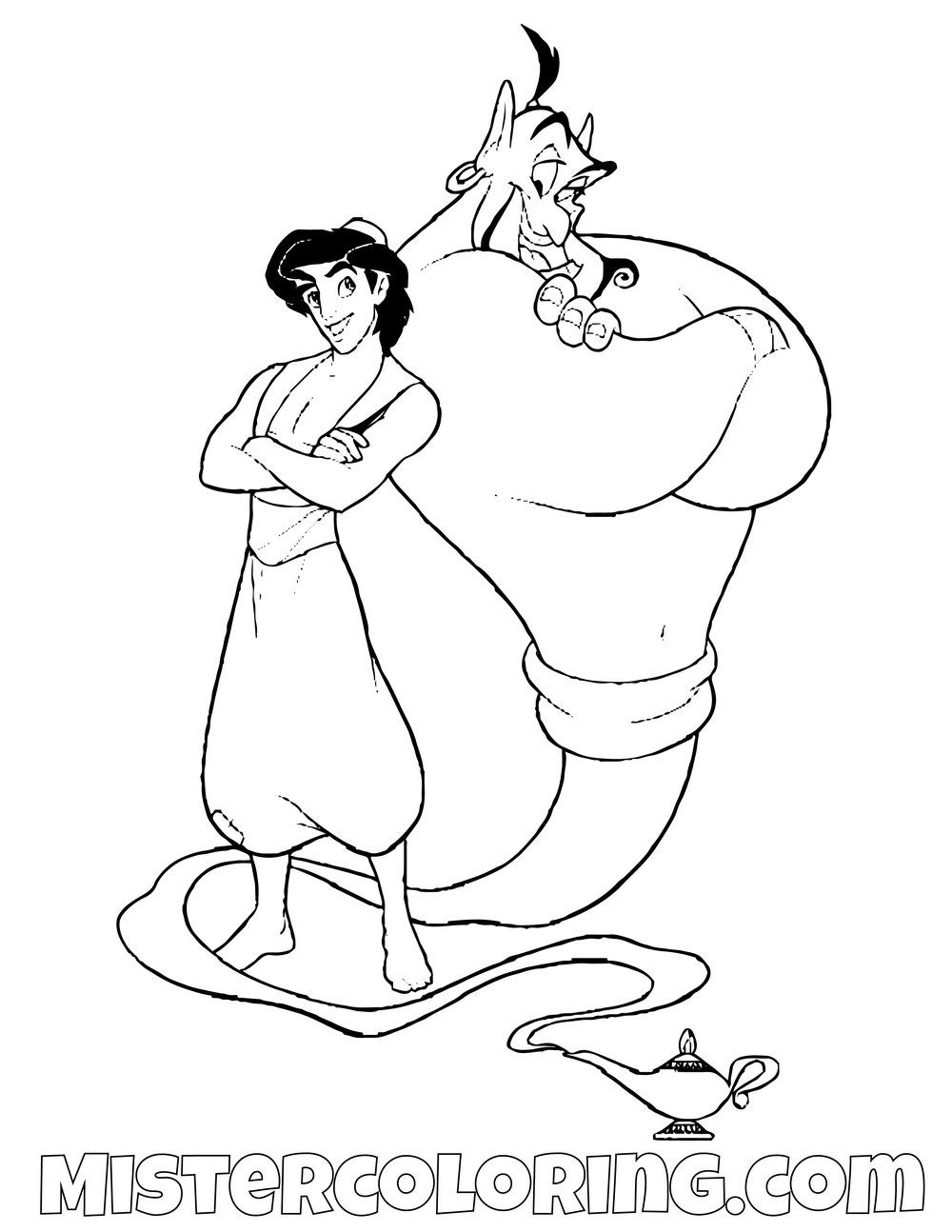 Aladdin And Genie Aladdin Coloring Page For Kids Coloring Pages