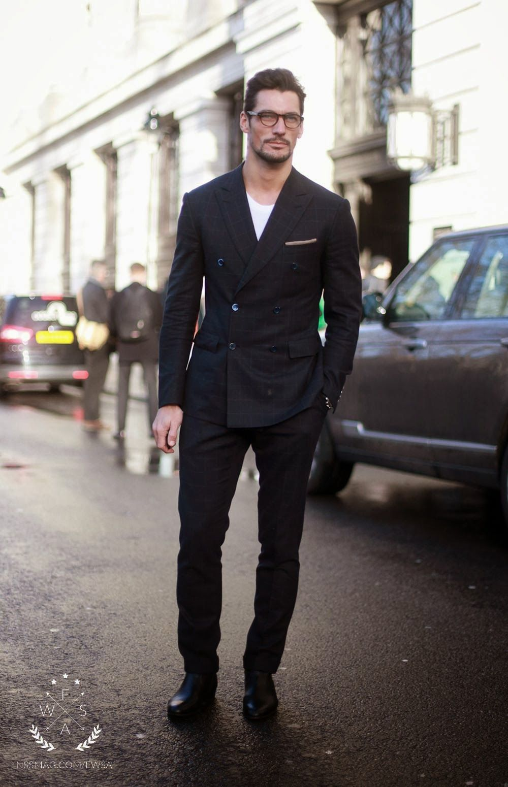 Black t shirt with suit - David Gandy Wearing Black Check Suit White Crew Neck T Shirt Black Leather Chelsea Boots Beige Pocket Square
