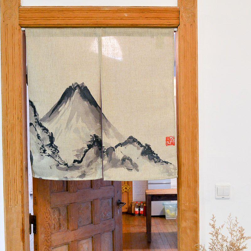 Pas cher nice rideaux chinois peinture l 39 encre montagne porte rideau coton rideau style - Rideaux de porte pas cher ...