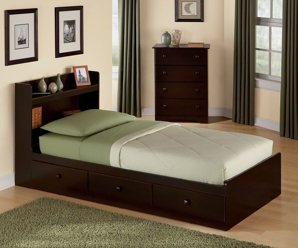 New Twin Platform Bed With 3 Storage Drawers Bookcase