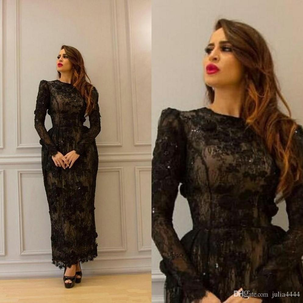Yousef Aljasmi Evening Dresses 2018 Modest Vintage 3D Floral Black Lace  Ankle-Length Long Sleeve High Neck Dubai Arabic Prom Gowns d2bfdc5a7c85