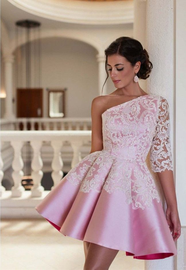 ee2df3e4581 Lovely One Sleeve Lace Appliques Homecoming Dress 2016 Pink Short Prom Dress
