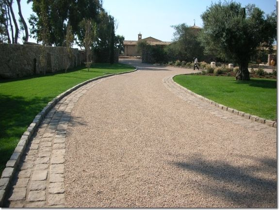 stone curb lining driveway - google