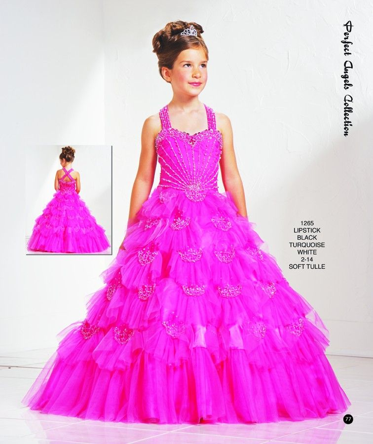 Exclusive A-line halter top neck floor-length Hot pink little girl ...