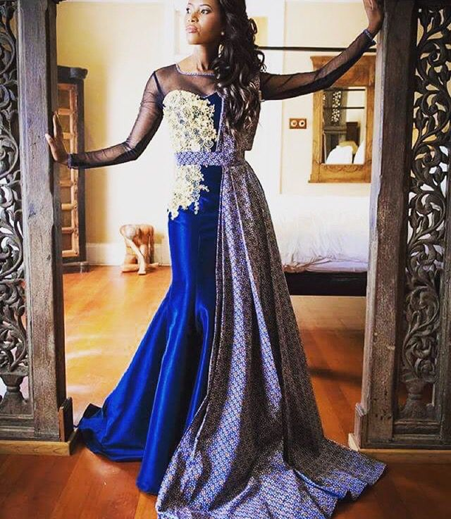 blue and yellow shweshwe dress by zodwa bridal south