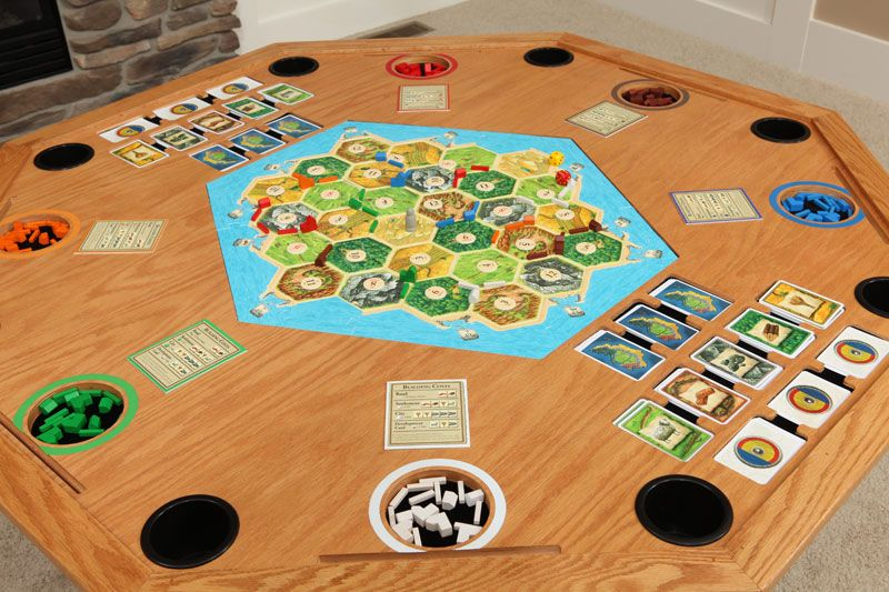 Game Night Glass Tables: Settlement Series Table In Oak