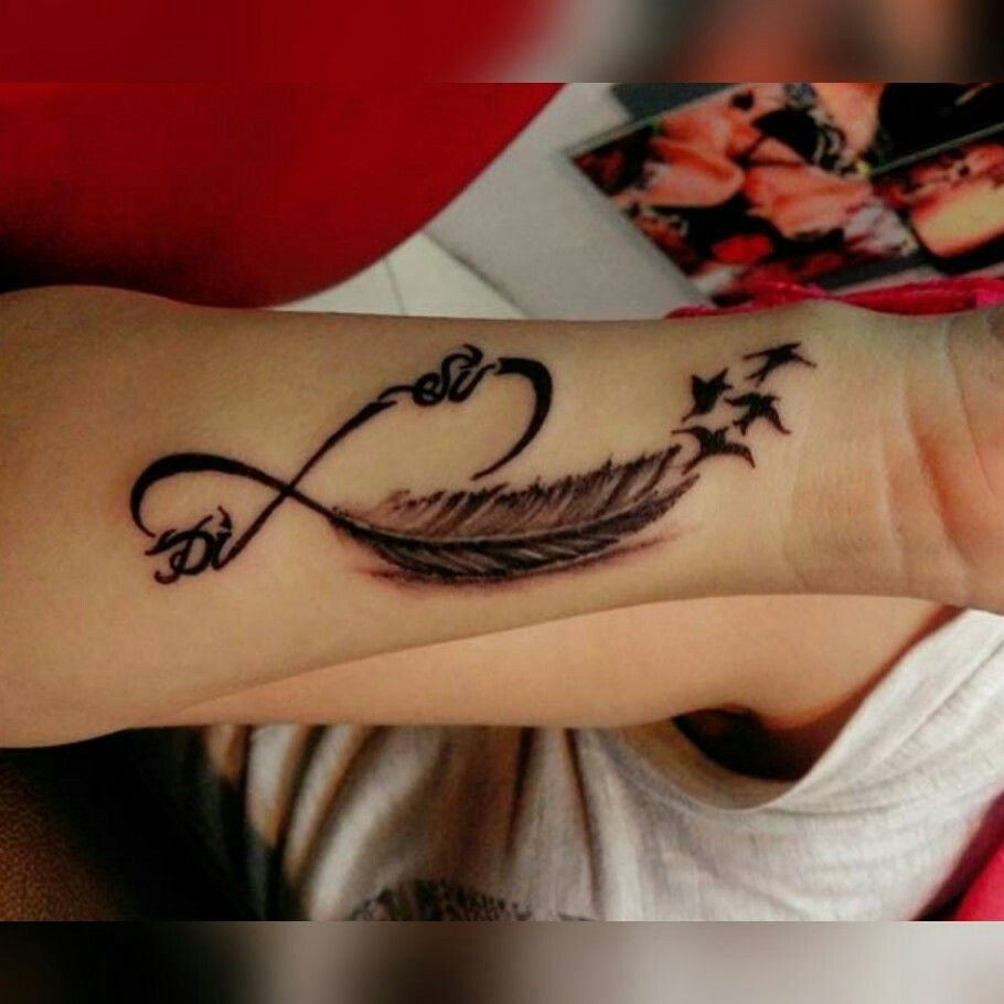 My Infinity Feather Tattoo With Our Names Inked Forever Infinity Tattoo With Feather Tattoo Designs Wrist Feather Tattoo Wrist