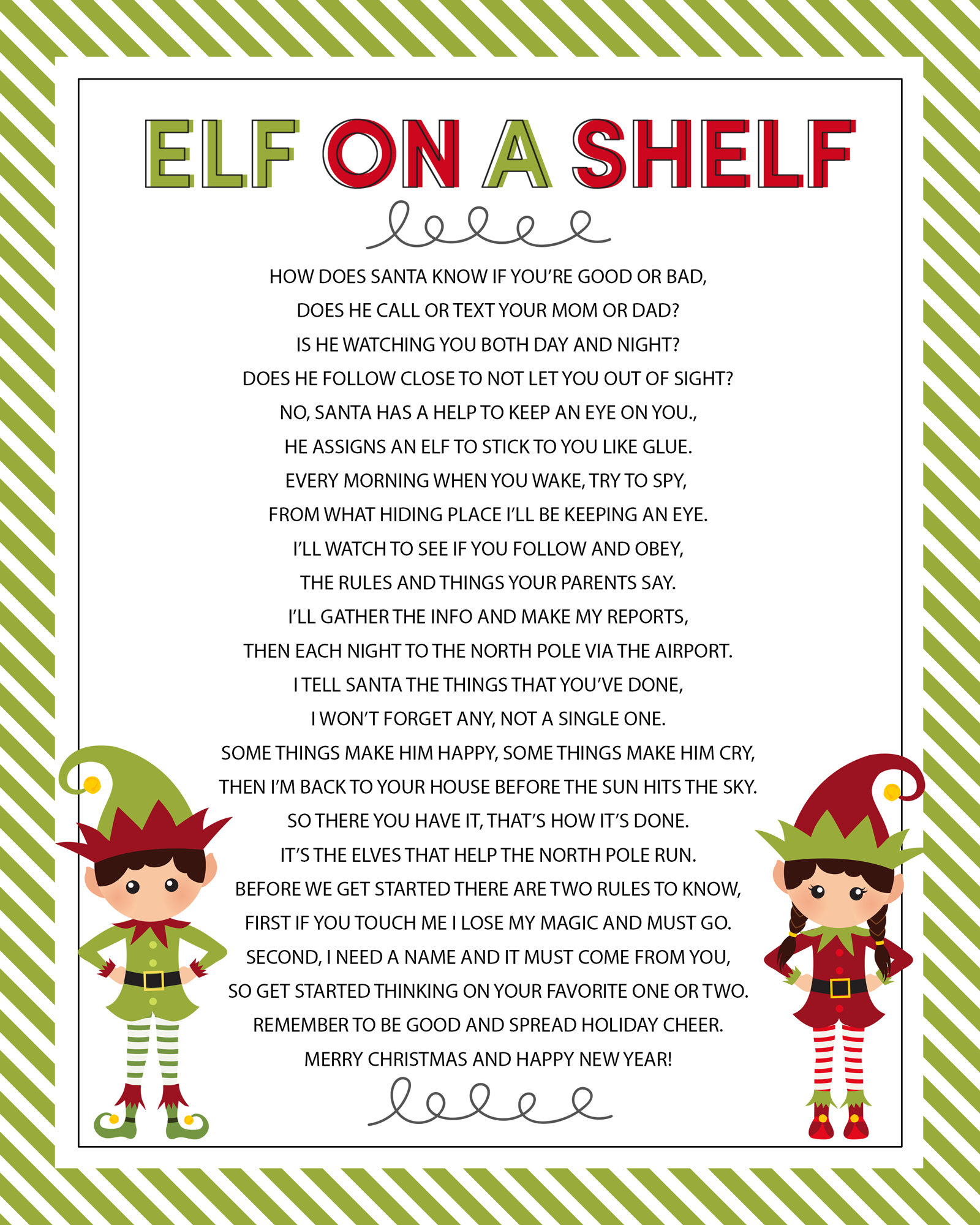 Elf on a Shelf - printable poem! So cute and perfect to use when ...