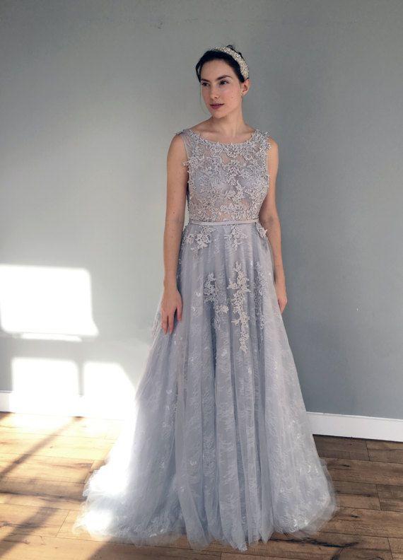 Grau blau Hochzeit Spitzenkleid von WeekendWeddingDress auf Etsy ...