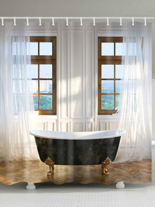 Classic bathroom print waterproof shower curtain colormix w inch