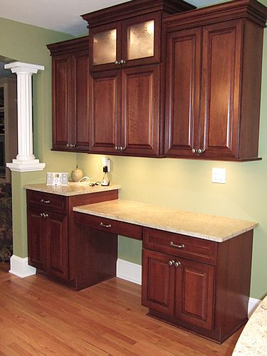 Small Kitchen Design With Cherry Wood Cabinets  Corner Rounding Beauteous Kitchen Desk Design Design Inspiration