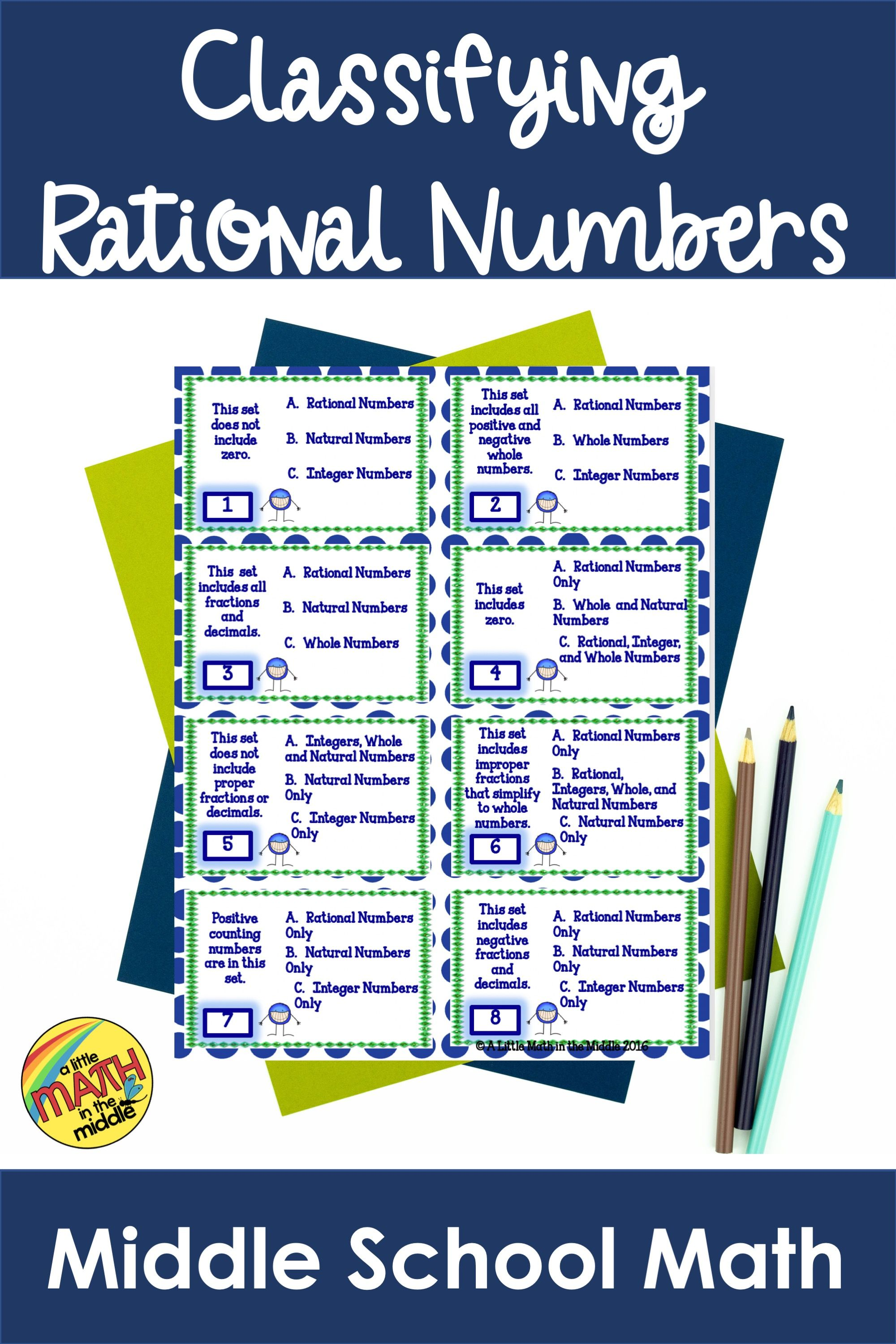 Classifying Rational Numbers Activity in 2020 Task cards