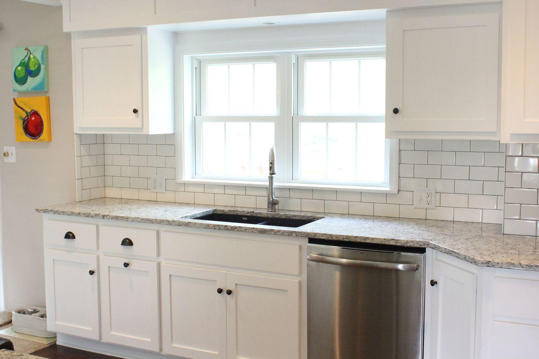 Shaker cabinet doors, Ashen White granite tops, undermount sink ...