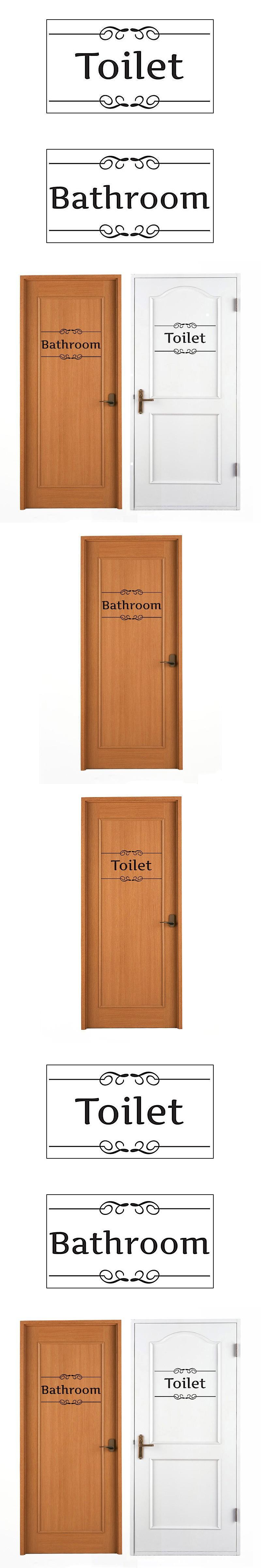 Pcs black bathroom toilet door sign wall stickers decal art diy