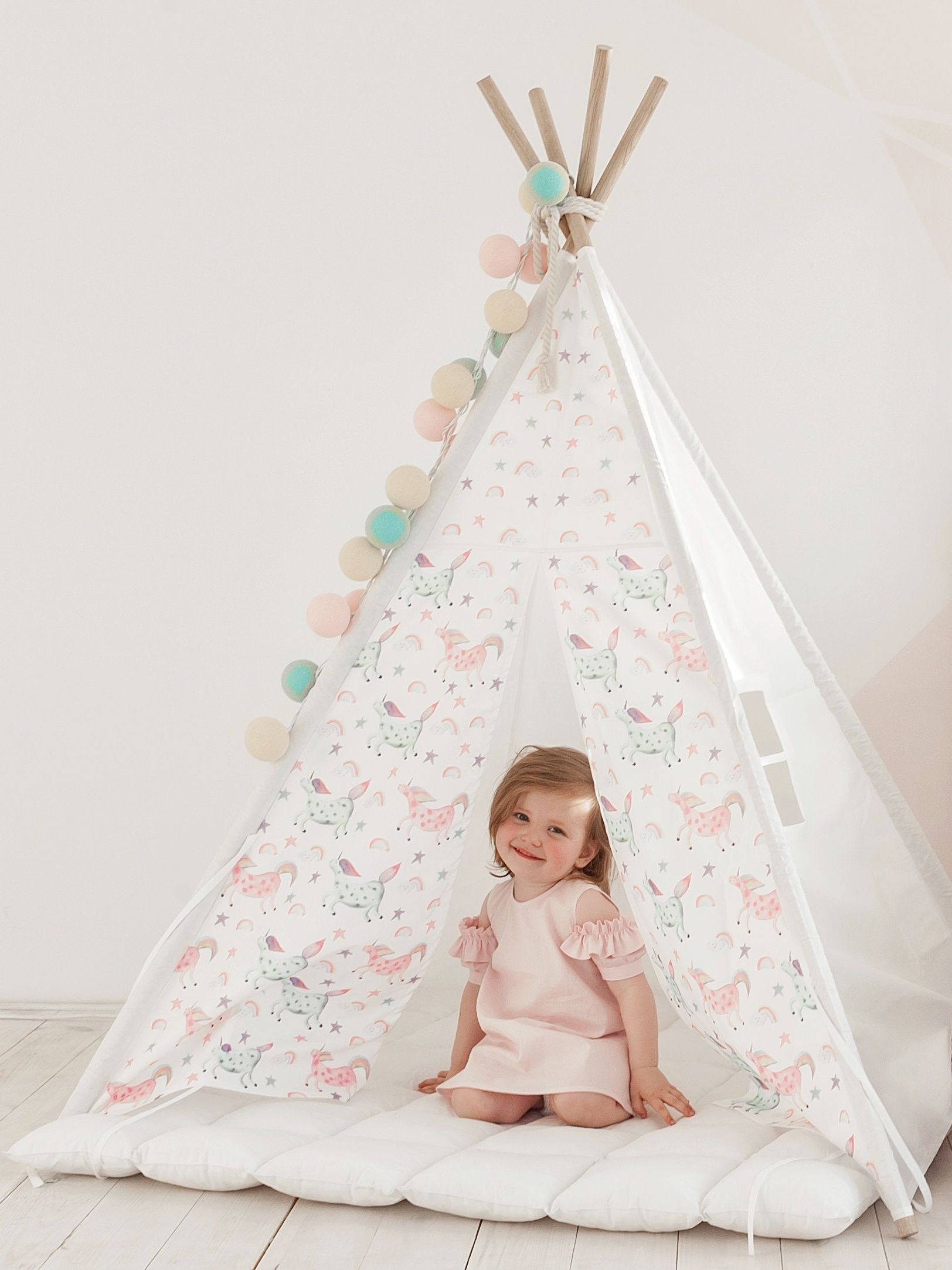 Kids Tepee with unicorns to buy on Etsy - HappySpacesWorkshop -Tipi with  poles 71332ad77d66c