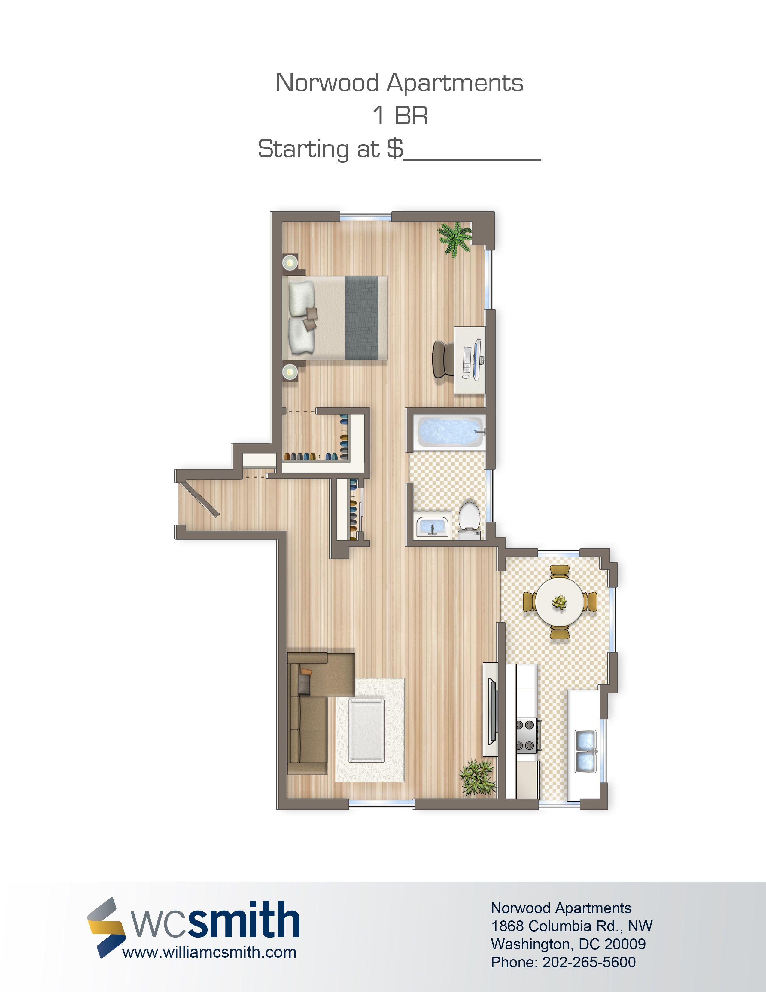 One Bedroom Floor Plan The Norwood in Northwest