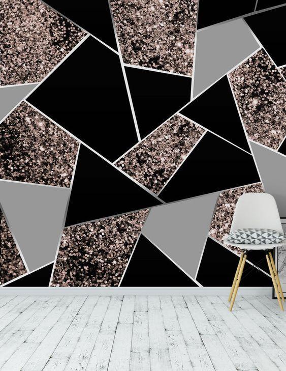 Best Rose Gold Geometric Glitter 1 Wall Mural In 2020 Diy 640 x 480