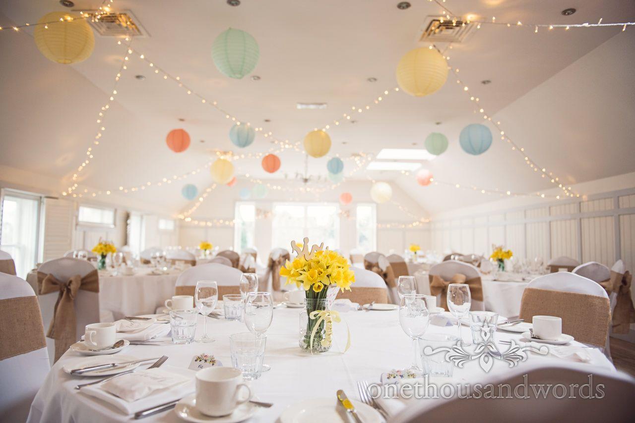 Kings Hotel Wedding Breakfast Woodland Spring Setup At Kings Priory