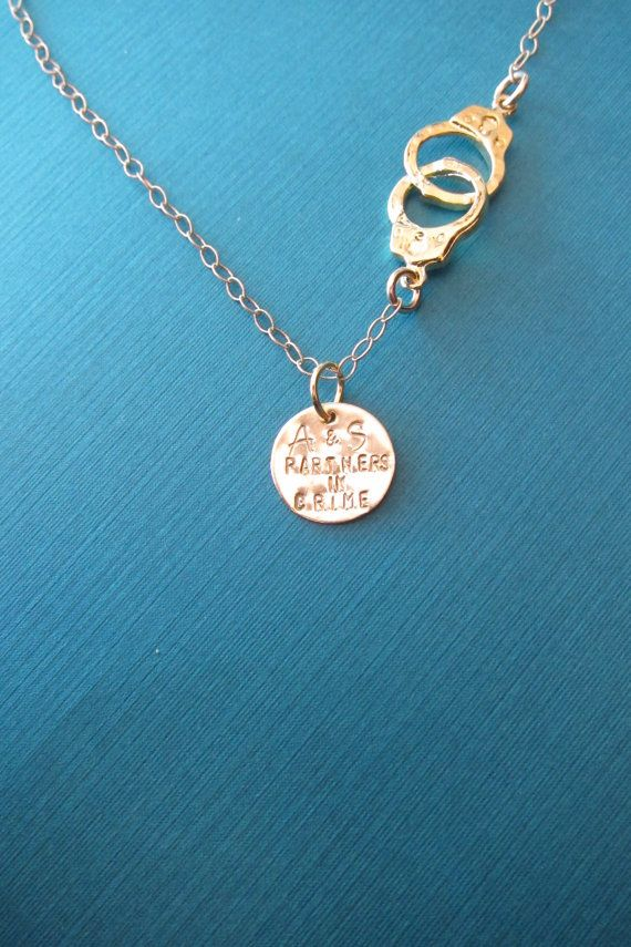 Friendship Necklace Partners in Crime Handcuff Necklace Best