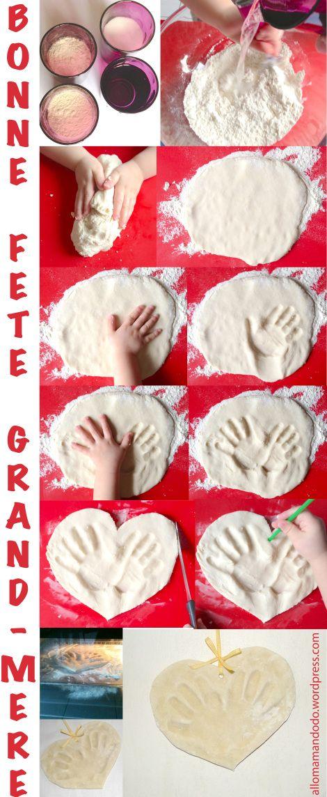 Pour la fête des grands-mères… Un joli coeur avec lempreinte de ses mains en pâte à sel (DIY tuto en photos inside