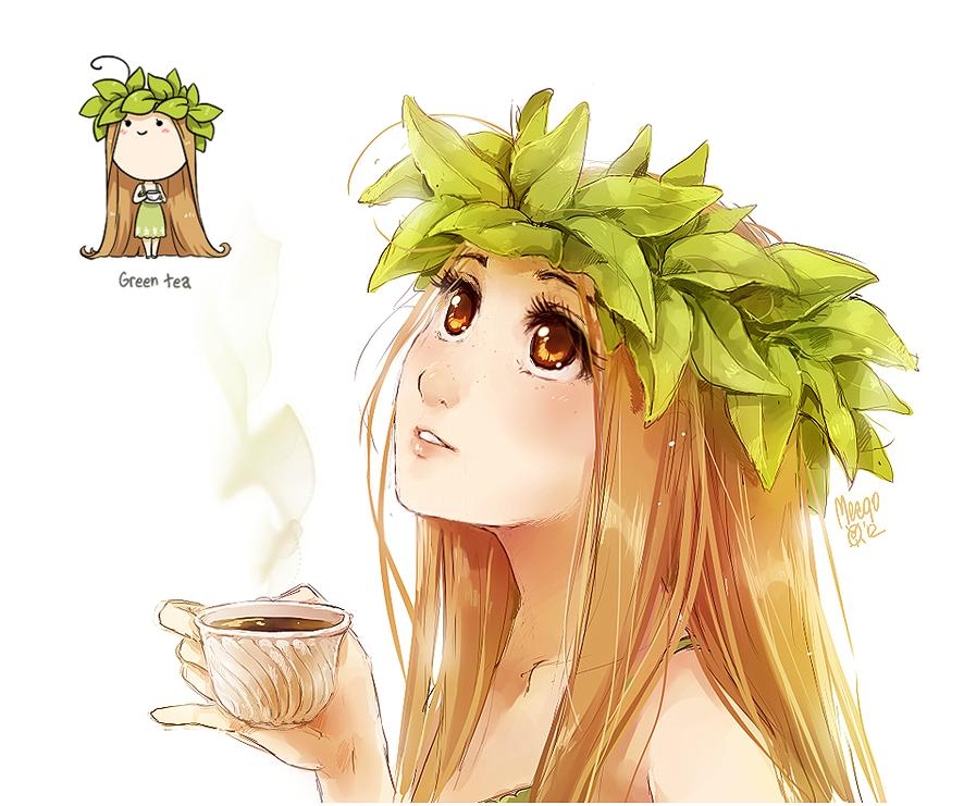 аниме арты с чаем