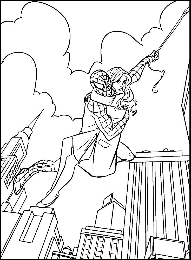 Carrying Spiderman Mary Jane coloring picture for kids | Spiderman ...