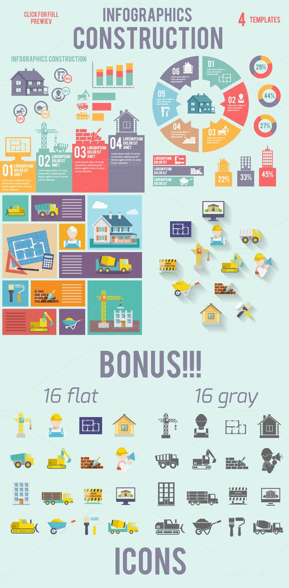 4 vector construction infographics by Macrovector on ...