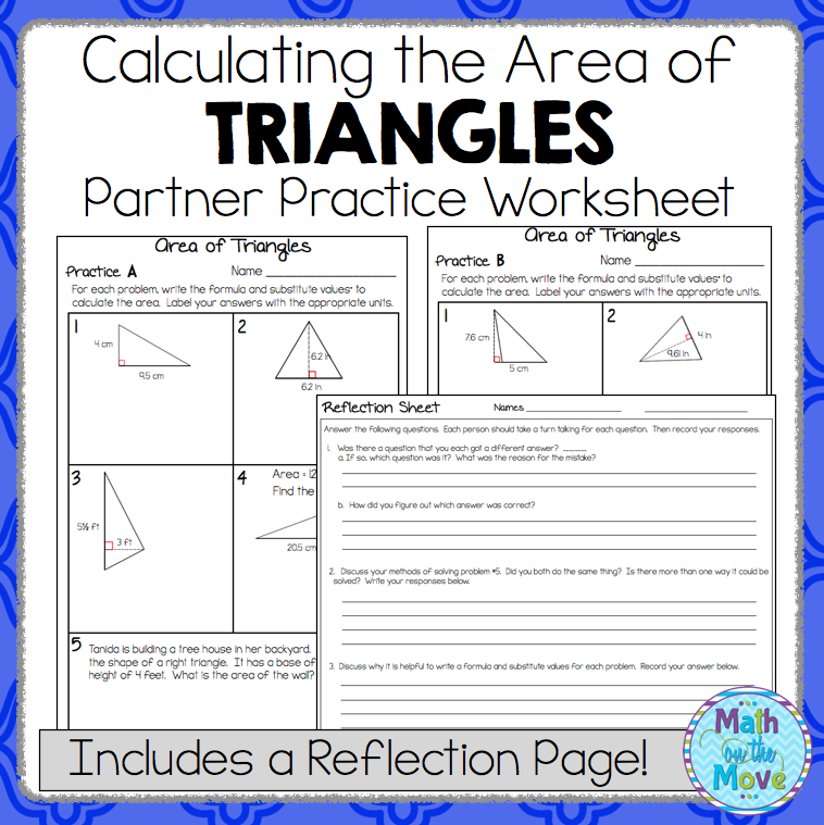 Area of Triangles Partner Practice Worksheet (with a