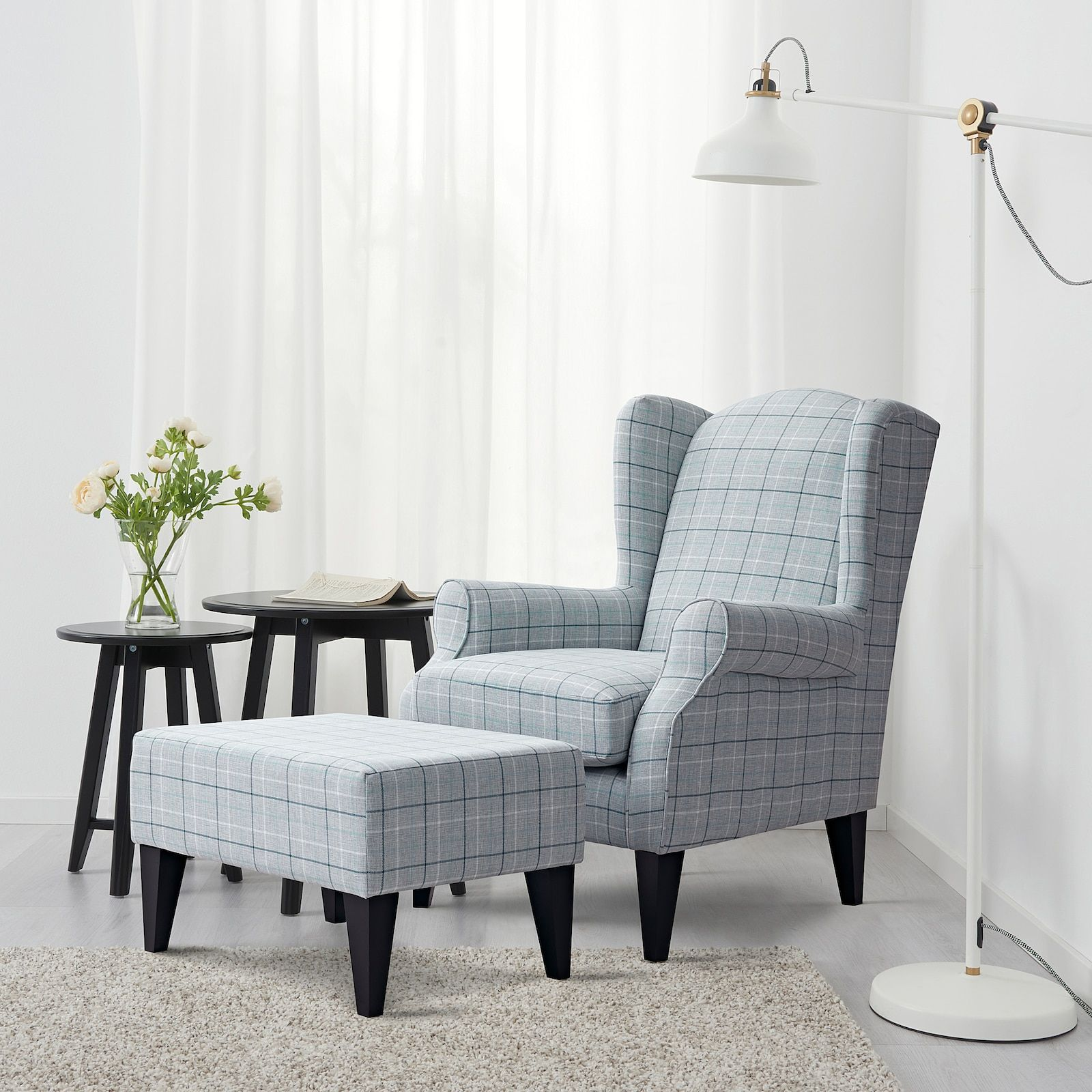 Torsebro Light Grey Check Wing Chair Ikea Wing Chair Wingback Chair Living Room Comfortable Living Room Chairs Living room accent chairs ikea