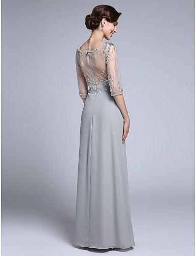 Lanting Bride® Футляр Платье для матери невесты В пол Рукав до локтя Шифон - Бусины 4915369 2016 – p.8 626,08