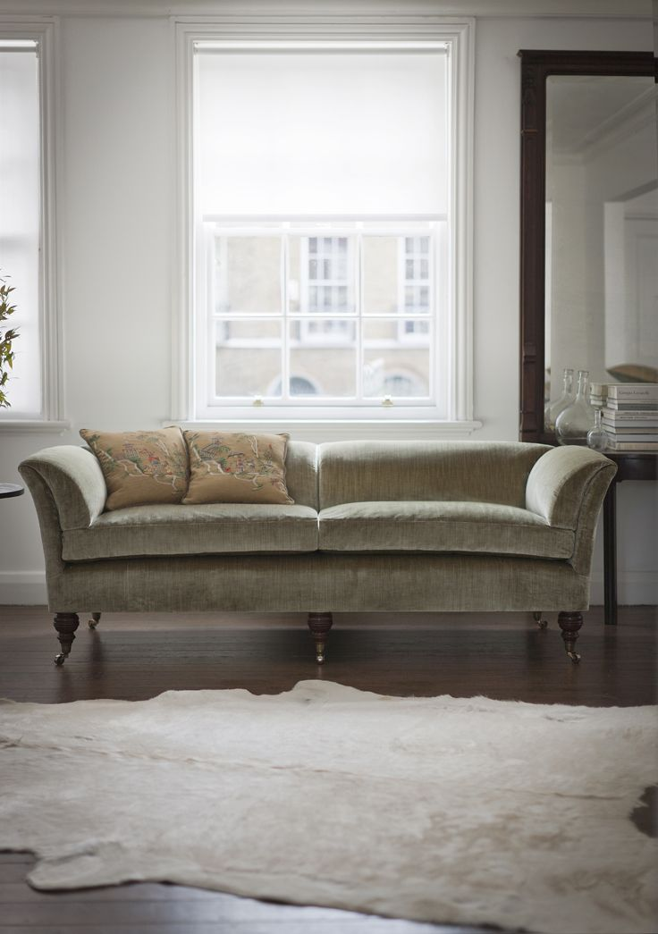 Pompadour Low Back Sofa. Looking Stunning In Como Silk Velvet   Fern. A  Real Statement For Any Room.