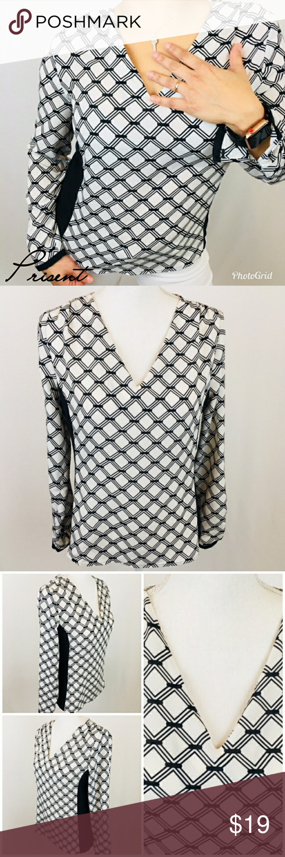 Worthington top women's long sleeve sz S white Worthington top women's long sleeve size S white and black color.  Lightweight fabric.  Approximate flat extended measures: Armpit to armpit 19