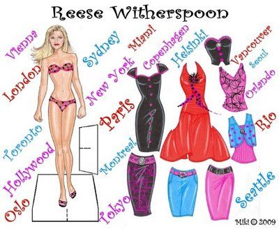 Free Download Of Reese Witherspoon Paper Doll Paper Dolls Paper Dolls Printable Paperdolls