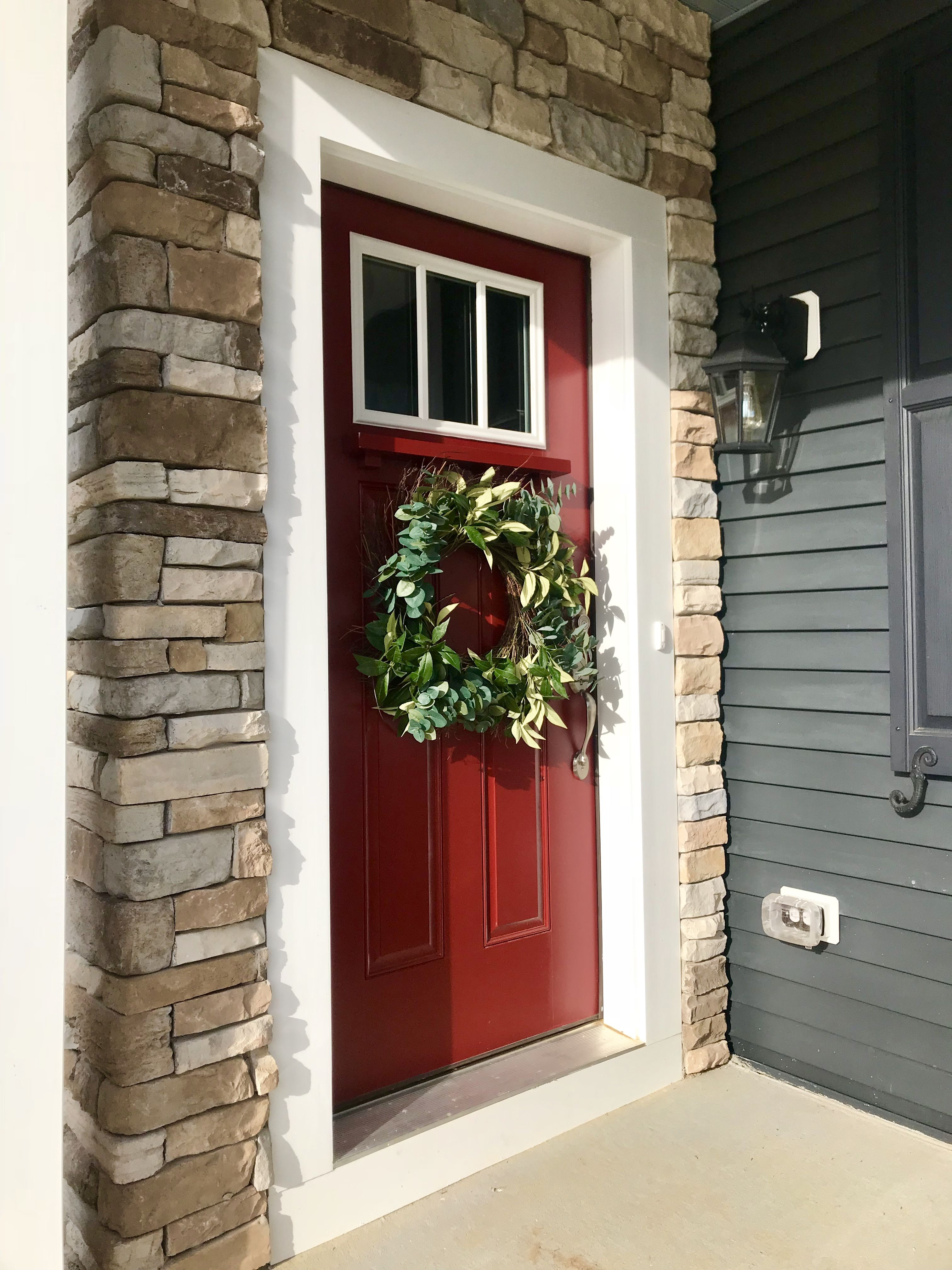 Exterior Craftsman Style Front Door Sherwin Williams Candy Apple