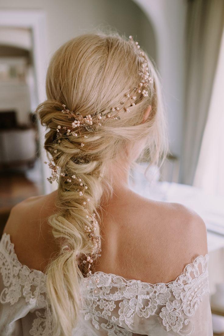 Rose Gold And Blush Hand Made Hair Vine Designer Wedding Dresses