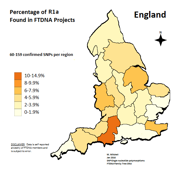 Y-DNA Haplogroup Percentages and maps for England: Source FTDNA Y