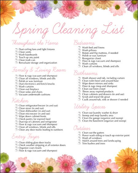 Spring Cleaning Free Printable  Cleaning Checklist Free