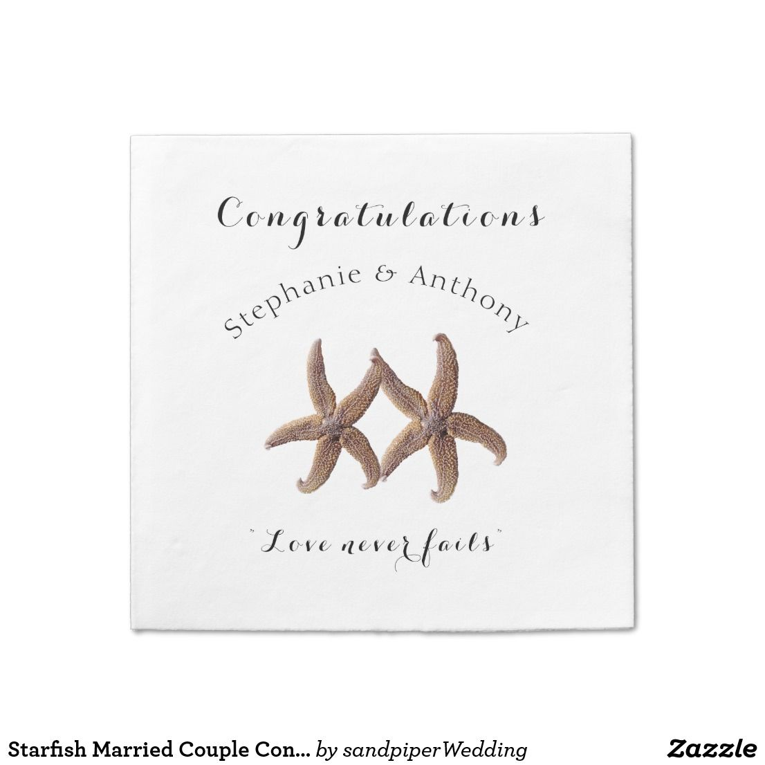 Starfish Married Congratulations Napkins Wedding Reception Napkin White Or Ecru