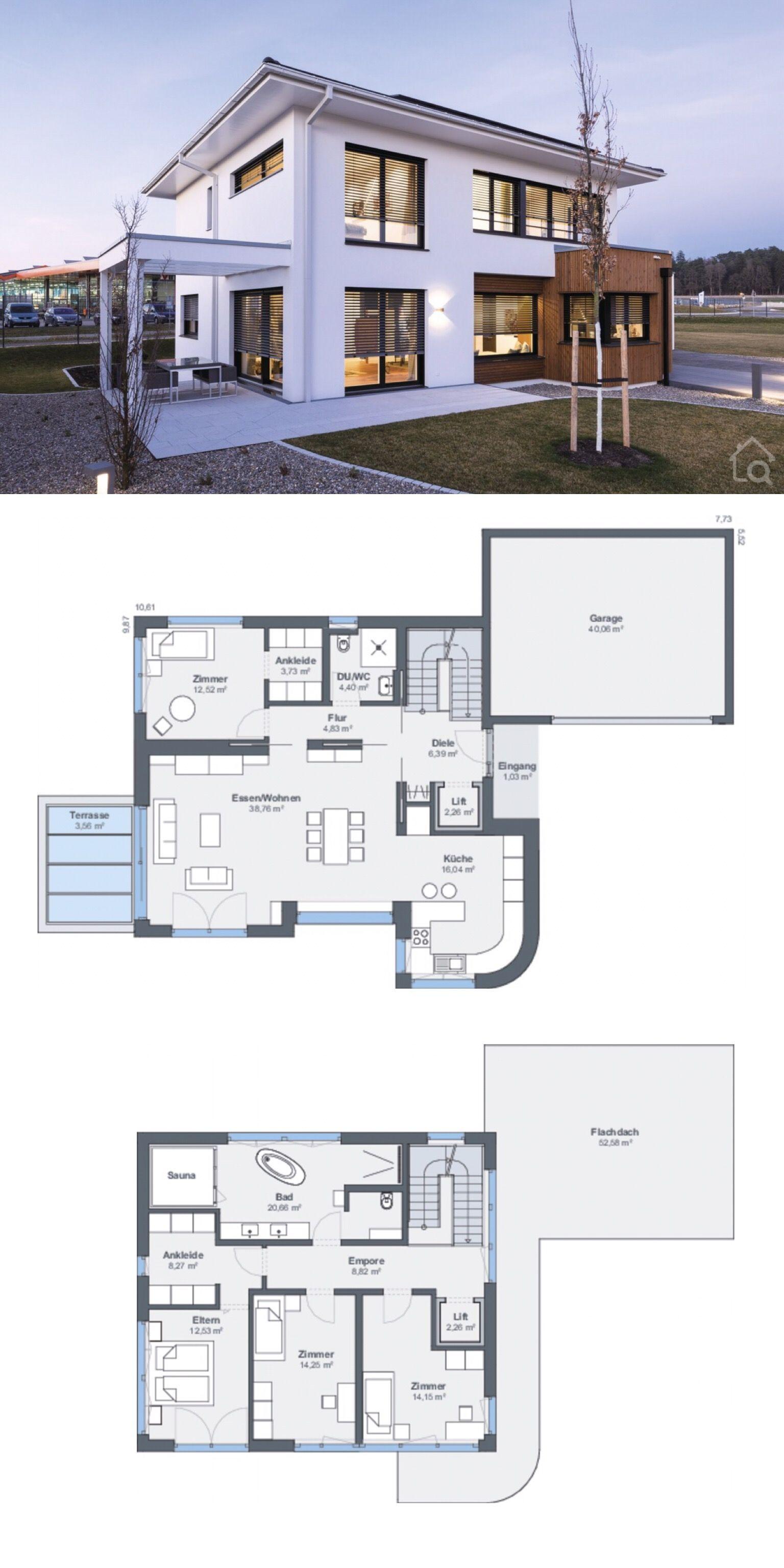 Einfamilienhaus Stadtvilla modern Grundriss mit Garage