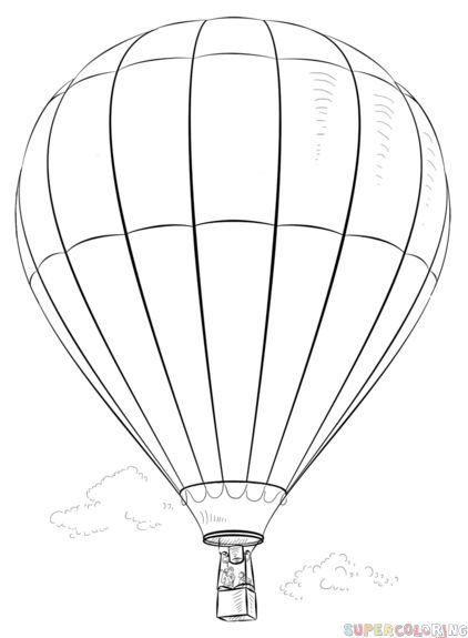 How To Draw A Hot Air Balloon Step By Step Drawing Tutorials