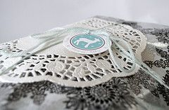 Lace & snowflakes wrapped gift