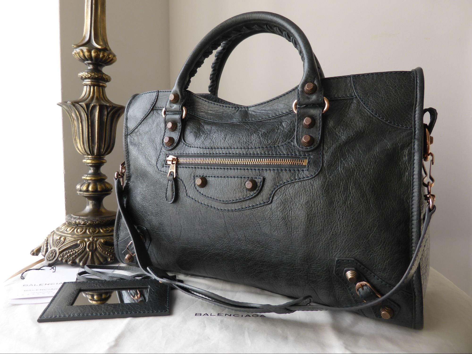 55a322232e9 Balenciaga City in Anthracite Lambskin with Giant 12 Rose Gold Hardware .  http://