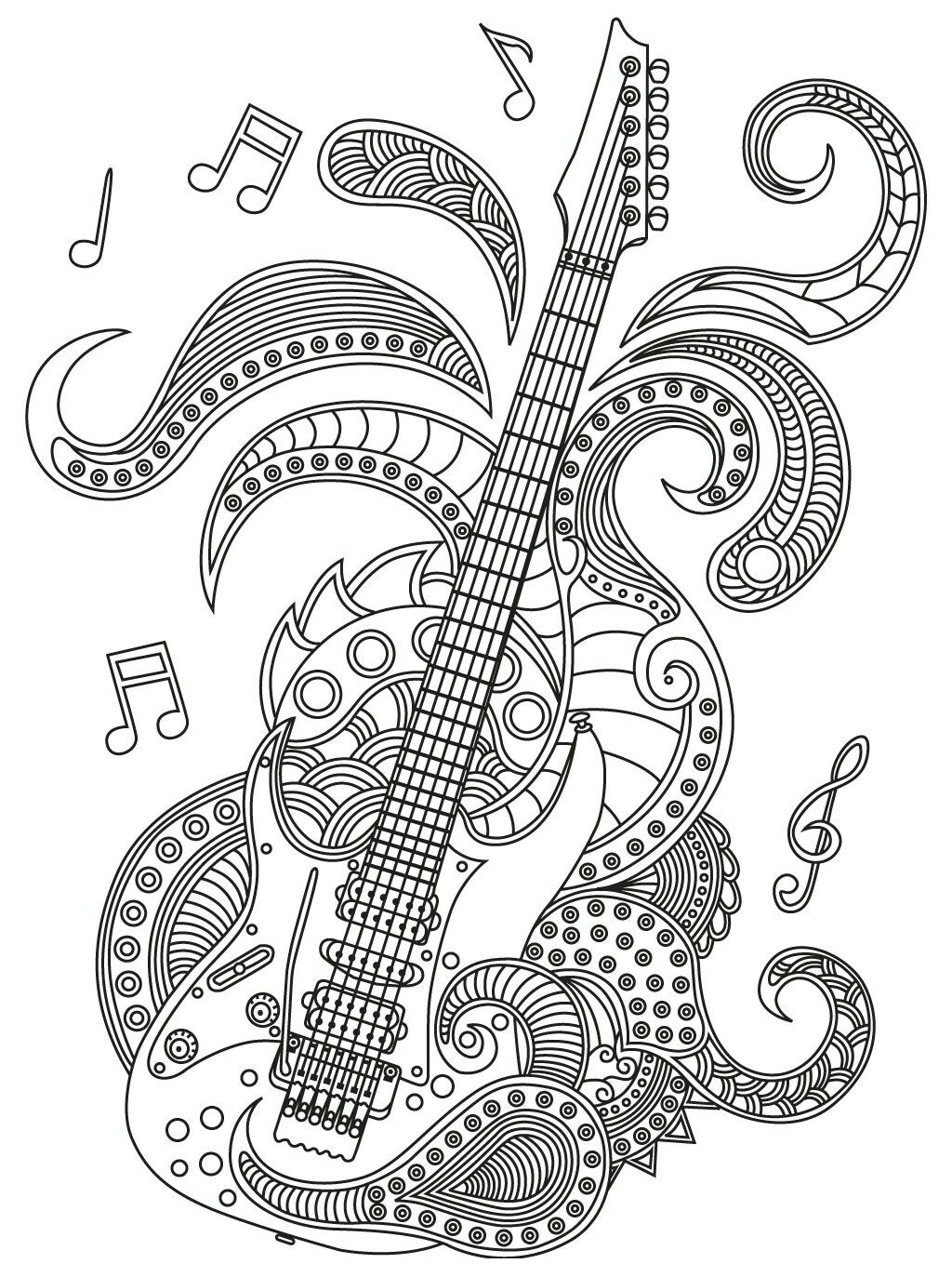 Guitar zendoodle Music coloring, Adult coloring pages