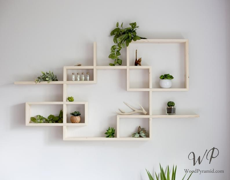 Solid Wood Display Shelf 46 X 25 Square Rectangular Floating