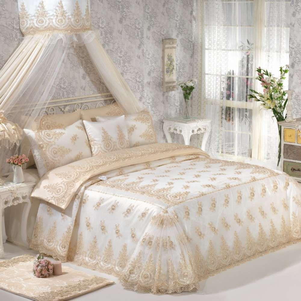 Elart Çeyizlik Yatak Örtüsü Haseki Gold Yatak Örtüsü: 270x260 cm Yastık Kılıfı: 50 x70 cm 2 Adet Kırlent: 1 Adet İpe… | Yatak, Mobilya fikirleri, Nevresim takımları