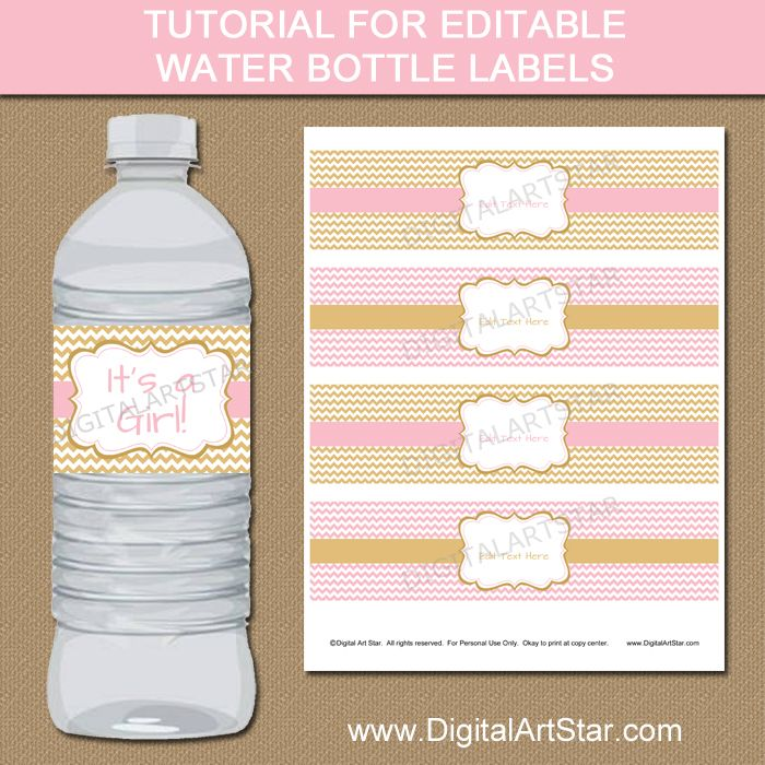 Tutorial for Pink  Gold Editable Water Bottle Label Template